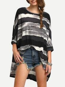 Dip Hem Striped Bat Shirt