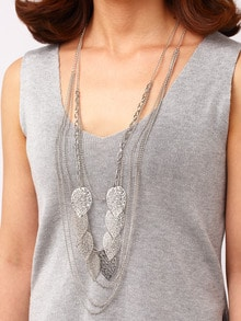 Silver Cut Out Leaf Layered Necklace