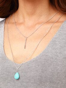 Turquoise And Plate Pendant Layered Necklace