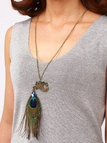 Rhinestone Peacock Pendant With Peacock Feather Necklace