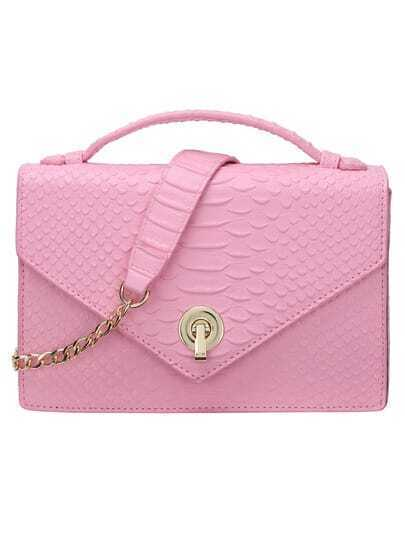 Pink Crocodile Embossed Turnlock Flap Chain Bag