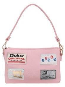 Leather Patch Pink Shoulder Bag