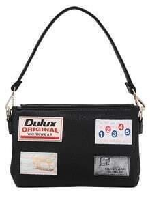 Leather Patch Black Shoulder Bag