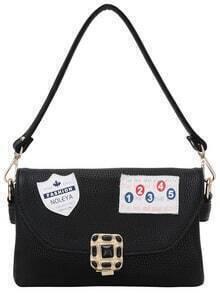 Leather Patch Rhinestone Turnlock Flap Shoulder Bag