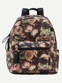 Vintage Allover Rose Print Backpack