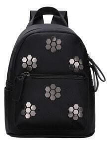 Metallic Plum Flower Studded Backpack