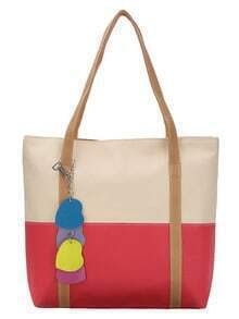 Color Block Tote Bag With Heart Bag Charm