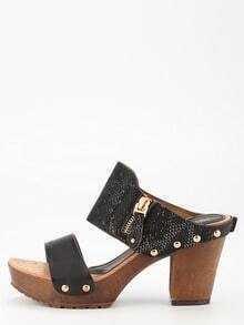 Black PU Cork Sandals