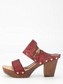 Maroon PU Cork Wedges