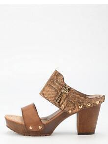 Camel PU Cork Wedges