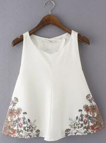 White Wrap Back Floral Print Chiffon Blouse