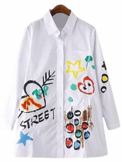 Multicolor Doodle Pocket Long Sleeve Blouse