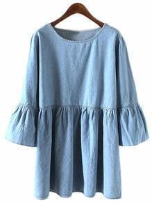 Blue Round Neck Bell Sleeve Denim Dress