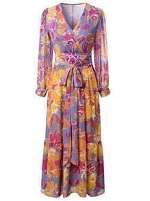 Multicolor Flower Print Tie-Waist Bohemian Maxi Dress