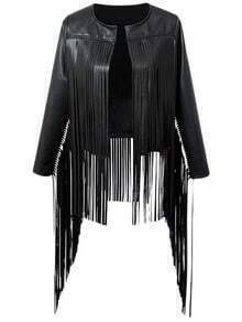 Black Long Sleeve Fringe PU Leather Jacket