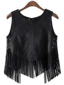 Black Lace Up Side Suede Fringe Vest Outerwear