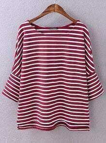 Burgundy Stripped Split Dip Hem T-shirt