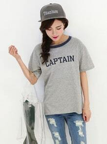 Letters Anchors Print Grey T-shirt