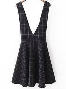 Deep V Neck Plaid Pinafore Dress