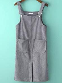 Ribbed Split Corduroy Pale Grey Pinafore Dress