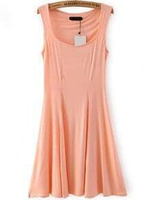 Square Neck A-Line Pink Dress