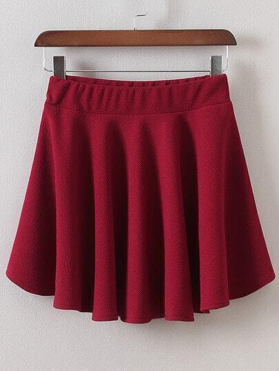 Elastic Waist A-Line Burgundy Skirt -SheIn(Sheinside)