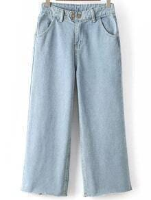 Frayed Wide Leg Denim Pale Blue Pant