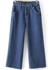 Frayed Wide Leg Denim Blue Pant