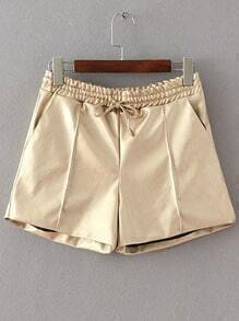 PU Khaki Shorts With Draw Cord Waist