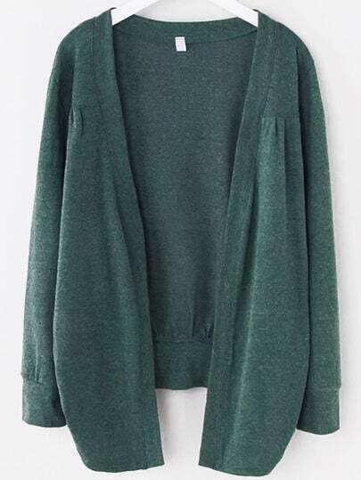 Green Asymmetrical Ruched Cardigan