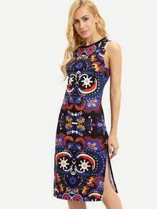 Multicolor Crew Neck Floral Print Side Split Dress