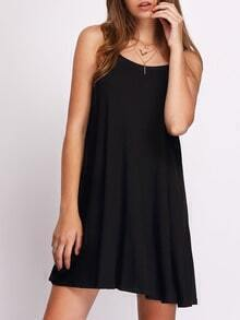 Black Flower Spaghettic Strap Casual Pleated Dress