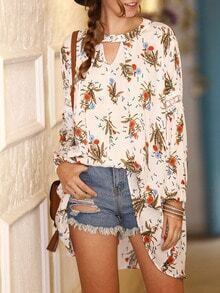 White Keyhole Front Floral Print High Low Blouse