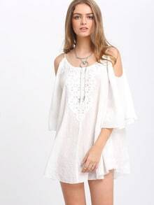 Beige Open Shoulder Crochet Lace Pleated Blouse