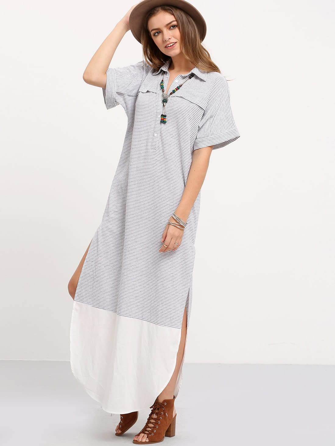 Фото Contrast Curved Hem Polo Collar Slit Dress. Купить с доставкой