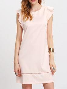 Pink Petal Sleeve Elegant Dress