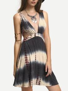 Multiclor V-neck Cutout Tie-dye Dress