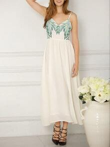 White Spaghettic Strap Bow Tie Back Maxi Dress