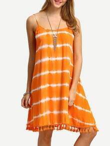Orange Spaghettic Strap Tassel Trim Tie-dye Dress