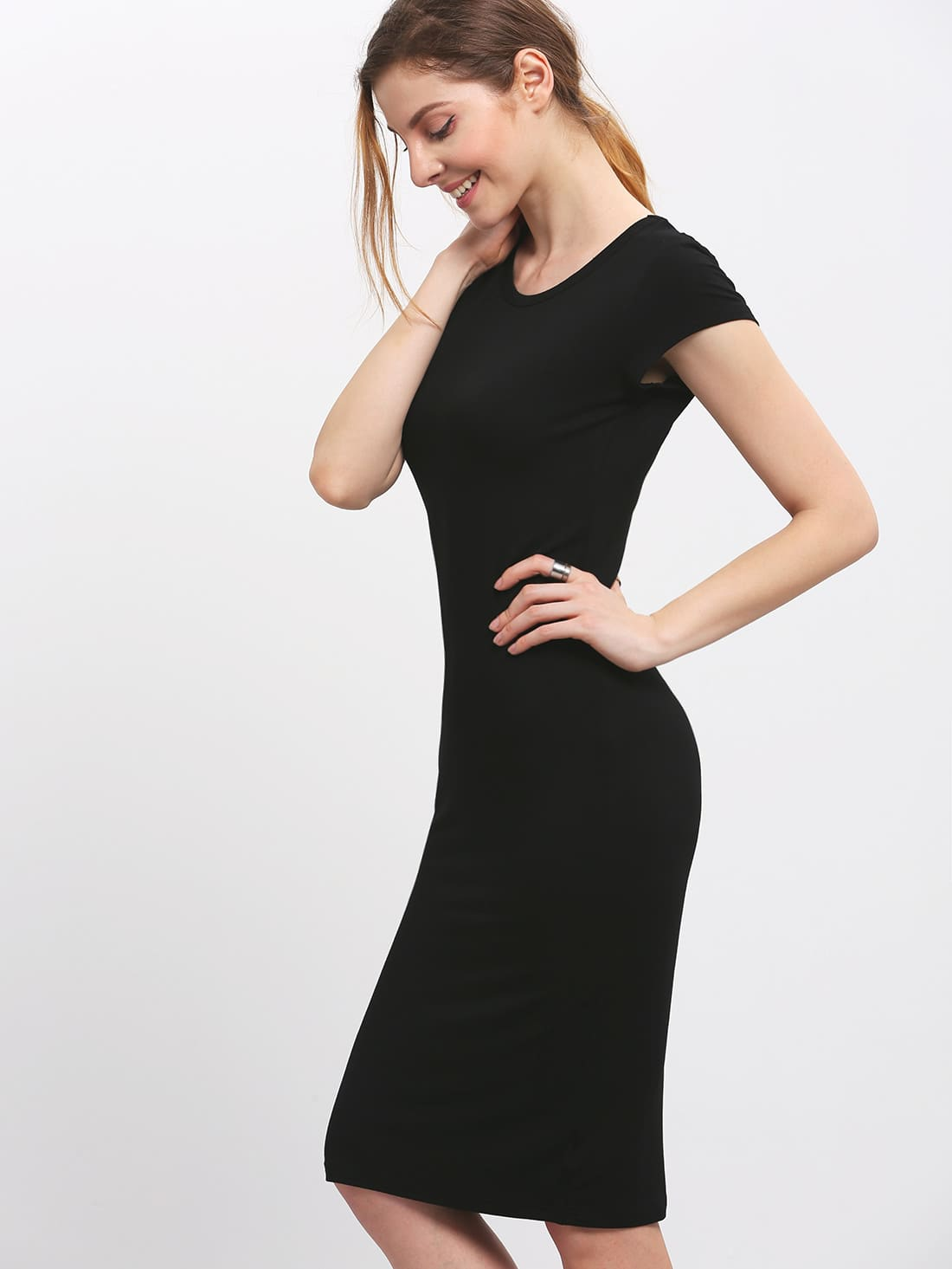 e8dc710041 Black Elegant Rayon Round Neck Cap Sleeve Bodycon Knee Length Plain Fabric  is very stretchy Summer Pencil Natural Slim Party Workwear Pencil Dresses.