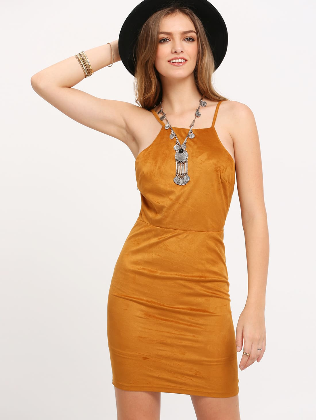 Buy Brown Spaghetti Strap Lace Back Suede Dress
