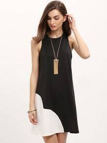 Black Crew Neck ColorBlock Casual Dress