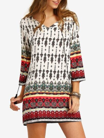 Tassel Tie Neck Tribal Print Dress