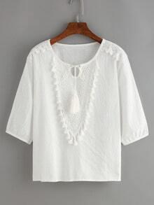 Lace Up Fringe White Shirt