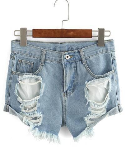 Ripped Frayed Denim Shorts