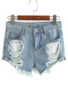 Ripped Frayed Denim Shorts