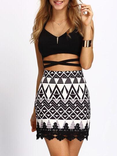 Geometric Print Contrast Lace Bodycon Skirt