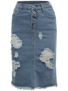 Blue Ripped Frayed Denim Skirt