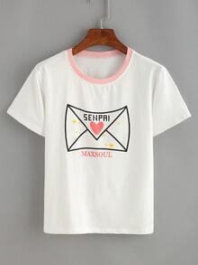 White Envelope Print T-shirt