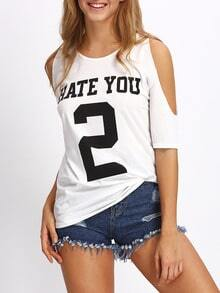 White Open Shoulder Letters Print T-shirt